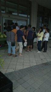line up outside a convenient store